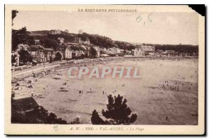 Old Postcard Brittany Picturesque 9900 Val Andre The Beach