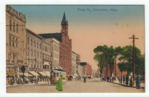 Worcester, Massachusetts, Vintage Postcard View of Front Street