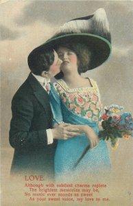 Postcard couple romantic lovers love idyll kiss romance fancy fashion hat bouque