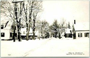 NORTH THETFORD, Vermont RPPC Real Photo Postcard MAIN STREET Winter Scene 1950