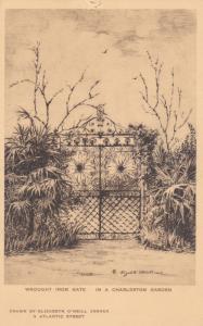 CHARLESTON, South Carolina, 1910-20s; Wrought Iron Gate, Garden