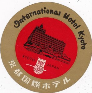 Japan Kyoto International Hotel Kyoto Vintage Luggage Label sk3901