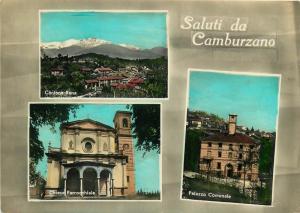 Italy Saluti da Camburzano Cantone Rena Chiesa Parocchiale Palazzo Comunale 1961