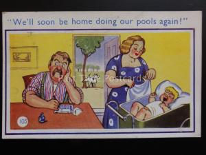 Comic Postcard: Football Pools Theme WELL SOON BE HOME GOING OUR POOLS AGAIN