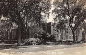 Clarinda Iowa~Senior High School~Opened Windows~Sign by Street~1930s RPPC