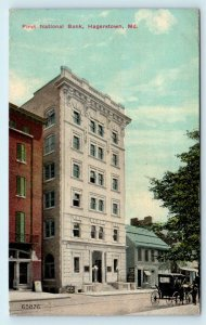 HAGERSTOWN, MD Maryland  First NATIONAL BANK 1911  Washington County  Postcard