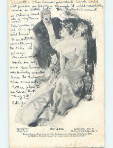 Pre-1907 Christmas MAN WITH PRETTY GIRL UNDER THE MISTLETOE HL4247