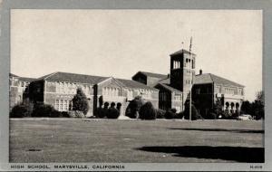 Marysville California~High School~Open Bell Tower~1930s B&W Silver Border PC