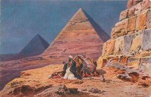 Prayer at the pyramids in the desert by F. Perlberg 1910 Egypt