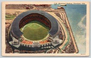 Cleveland Indians OH~Fly Right Over Municipal Baseball Stadium~1950 (Razed 1997)