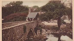 Llanystumdwy Bridge & Church, Criccieth, Wales, UK, 1910-1920s