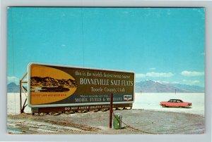 Salt Lake Desert UT-Utah, Bonneville Salt Flats, Chrome Postcard