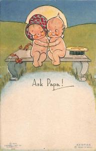 Rose O' Neill Kewpie Ask Papa! Postcard