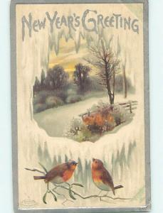 Pre-Linen new year PAIR OF CUTE BIRDS AND WINTER SCENE THROUGH THE ICE HQ8063