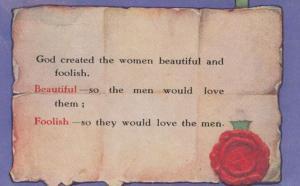 God Created Women Beautiful & Foolish Lovers Antique Poetry Songcard Postcard