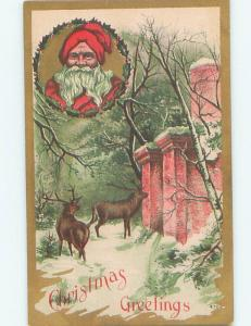 Pre-Linen Christmas SANTA CLAUS WITH REINDEER AT THE WALL AB4767
