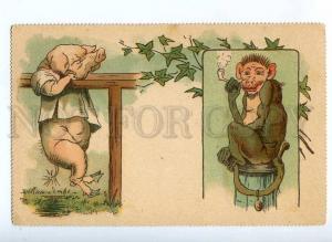 189474 ART NOUVEAU Dressed PIG Athlete SMOKING MOUSE vintage