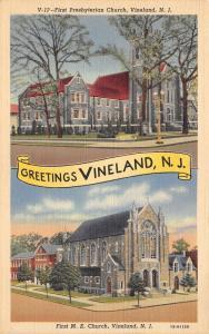 Vineland New Jersey~1st Presbyterian Church & 1st Methodist Episcopal Church~'41