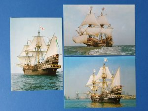 Complete Set of 3 1982 Postcards of The Golden Hinde, Sail Ship, Sea, Boat BU4
