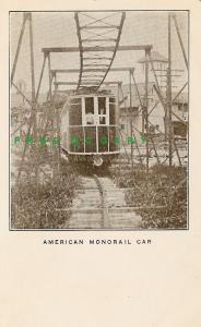 1907 Jamestown Exposition Postcard: American Monorail Parlor Car, Front View