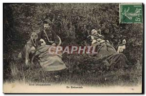 Postcard Old Customs Customs Customs In ambush Dog Dogs