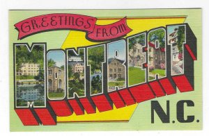 1940's Greetings from Montreat, North Carolina Large Letter Linen Postcard