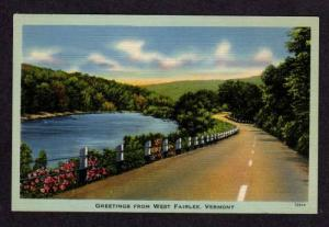 VT Greetings from WEST FAIRLEE VERMONT Postcard Linen