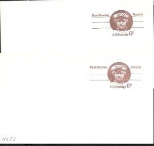US 2 Pre-stamped Mint Postcards UX58 Paul Revere