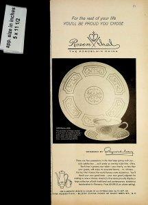 1958 Rosenthal Porcelain China Raymond Loewy Vintage Print Ad 7511
