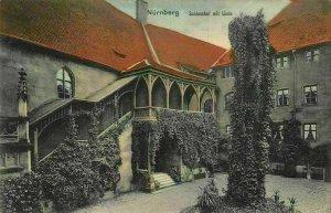 Nurnberg Schlosshof mit Linde Castle Courtyard Postcard