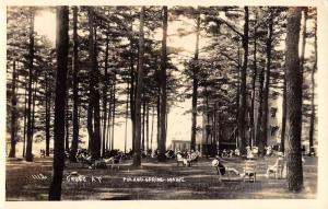 Poland Spring Maine Forest Relaxing Scene Real Photo Antique Postcard K84383