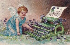 VALENTINE'S DAY, PU-1910; To My Heart's Best Love, Little Angel Typing A Le...