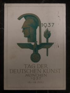 1937 Munich Germany Postcard  Propaganda cover Day of german art festival b