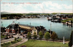 Victoria BC New CPR Office and Wharf c1907 Postcard F14