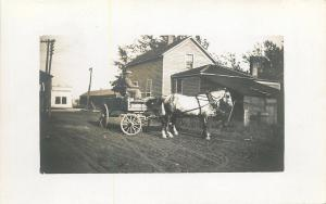 White Horse And Wagon on Dirt Road~Home w/Back Porch~Real Photo Postcard c1913