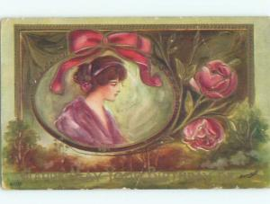 Pre-Linen signed PRETTY GIRL WITH RIBBON AND PINK ROSE FLOWERS W7030