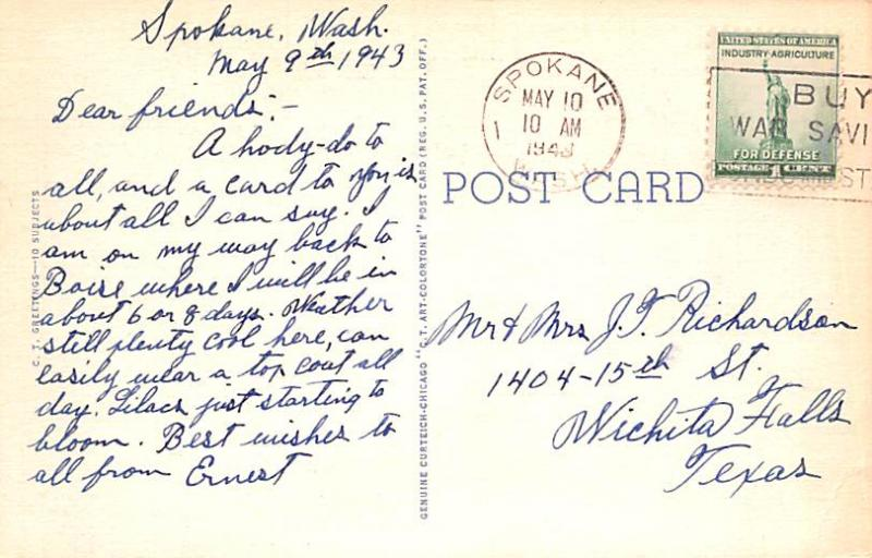 Post Card Old Vintage Antique Greetings from Washington, USA Unused