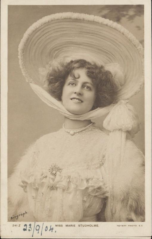 Miss Marie Studholme Theater Actress Edwardian Fashion hat