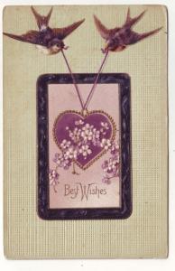 P106 JLs old postcard embossed birds purple heart greetings