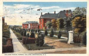 Greensboro North Carolina Normal College Avenue Antique Postcard K102206