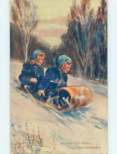 Pre-Linen signed BEAUTIFUL VIEW OF GIRLS RIDING ON TOBOGGAN SLED HL5162