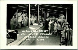 Vintage 1951 RPPC Photo Postcard McCULLAH-WASSON 61st ANNUAL FAMILY REUNION
