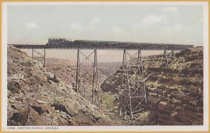 Canyon Diablo, Arizona, steam train passing over trestle - Fred Harvey 13955