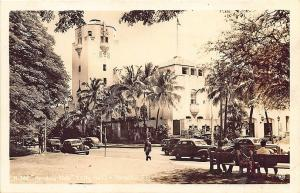 Honolulu HI Street View City Hall Old Cars RPPC Postcard