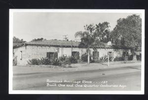 RPPC SAN DIEGO CALIFORNIA RAMONA'S MARRIAGE PLACE 137 REAL PHOTO POSTCARD