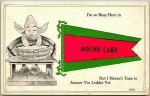 1914 ROUND LAKE, New York Greetings Postcard Dutch Girl / Pennant w/ NY Cancel