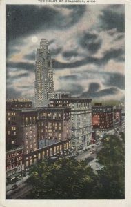 The Heart of COLUMBUS, Ohio, 1900-10s; Night View of High Street
