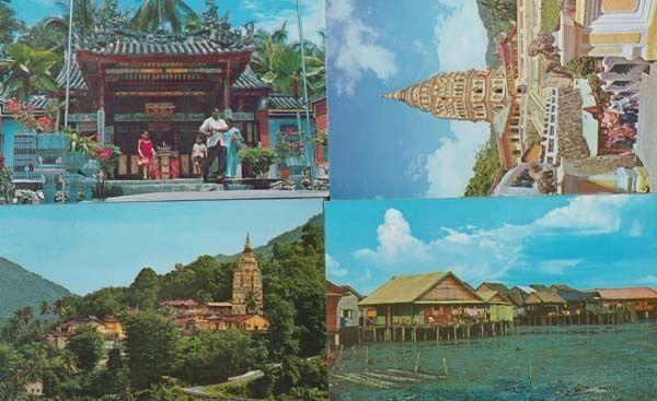 Penang Malaysia Temple Snake Itam Stilts Houses Pagoda 4x Mint Rare Postcard s