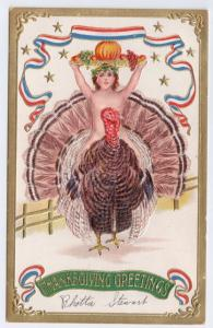 Patriotic Thanksgiving Child Riding Turkey 1908 Embossed Gold Gilt Postcard