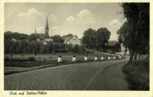 poland, SZCZECIN STETTIN, Pölitz, Blick mit Marienkirche (1930s) Postcard